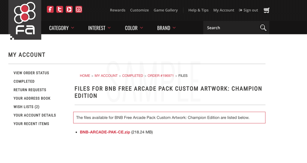 BnB Fightstick Arcade Pack Registered Account Download Screen
