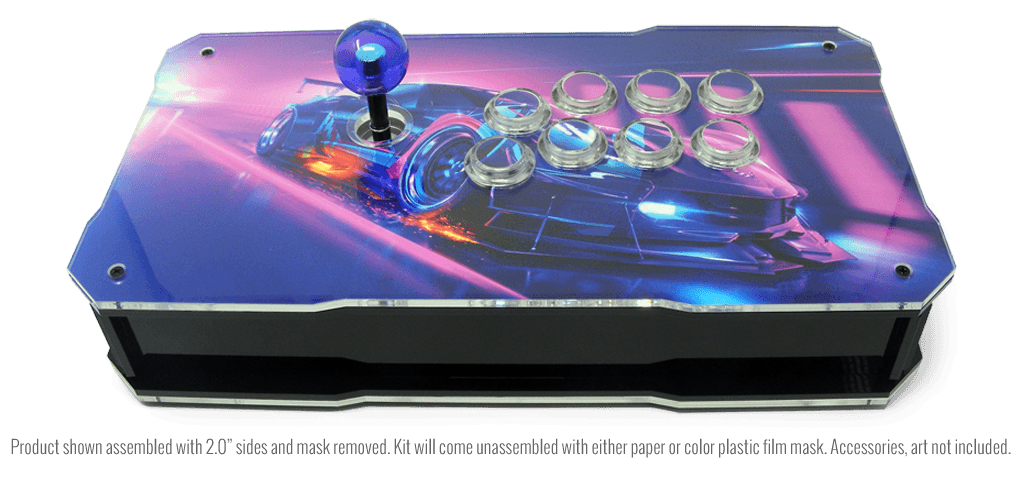 BnB Fightsticks Black Gloss with Clear Top and Bottom - Back side