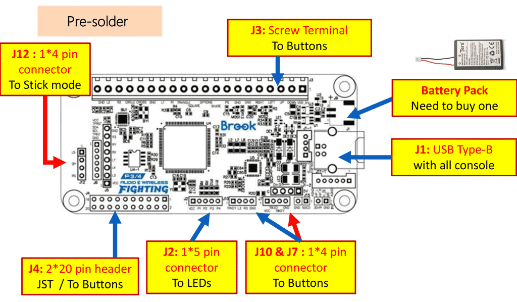 Wireless PS3/PS4/SW Fighting Board Pin Description