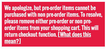 Pre-order notification message at view cart