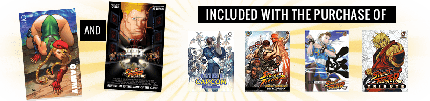 Get a free Udon Street Fighter Legends Cammy variant and Guile movie poster variant with purchase of select Udon Art Books