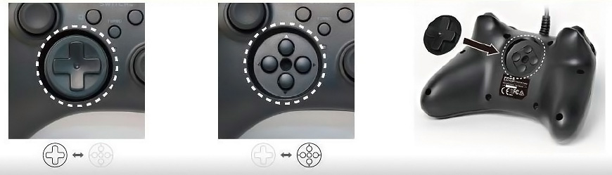 Swappable D-Pad and storage for D-Pad.  Recessed button pad.