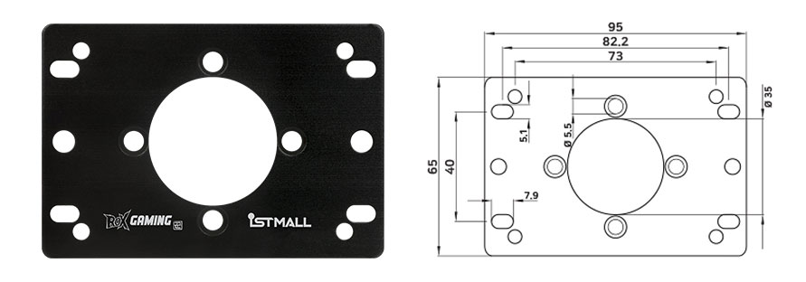 IST KNEE Lever Multi-mounting plate is designed to mount in Sanwa compatible fightsticks