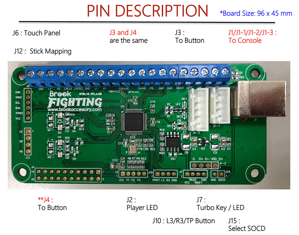 PS3/PS4 Fighting Board Plus Pin Description