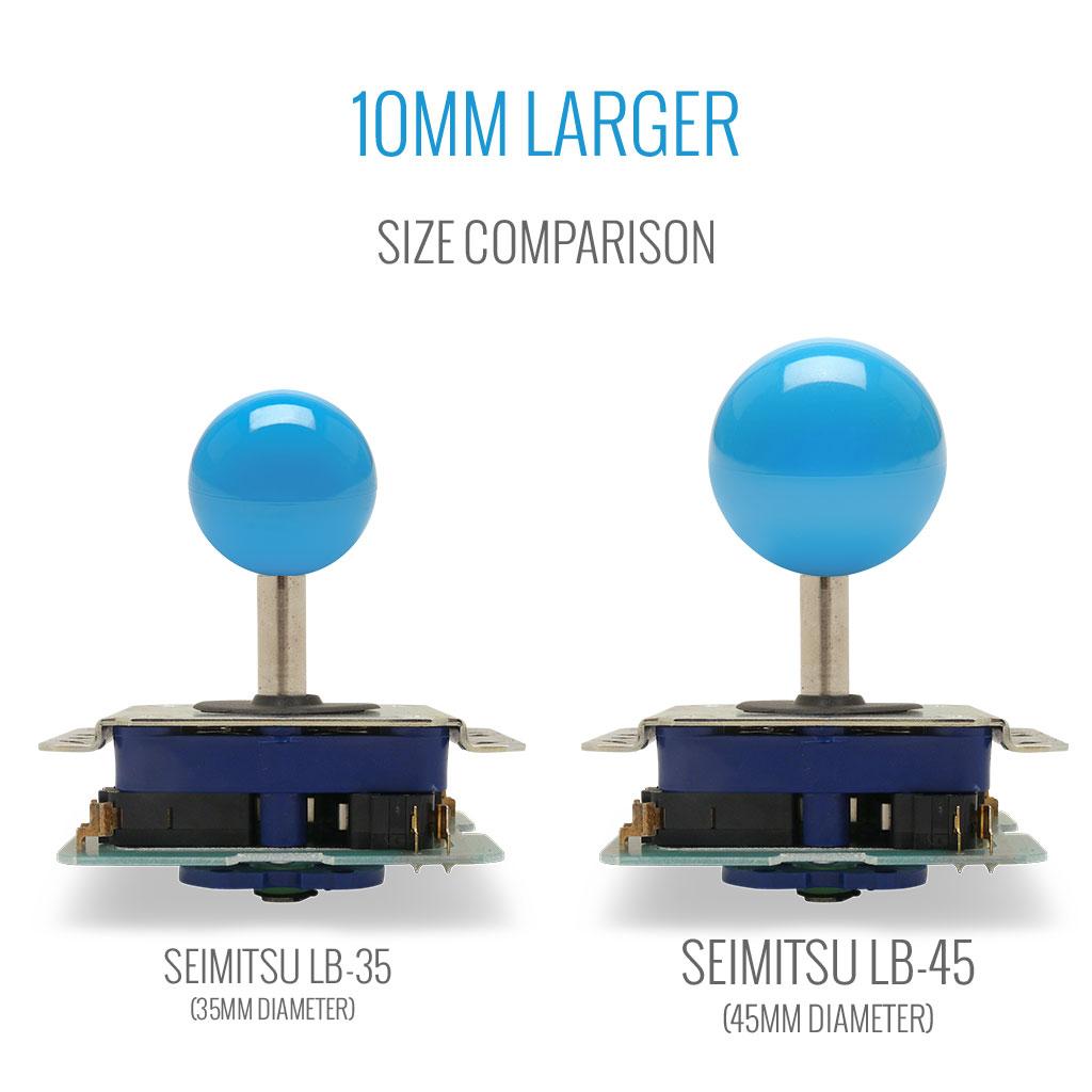 Seimitsu LB-35, LB-45 balltop size comparison