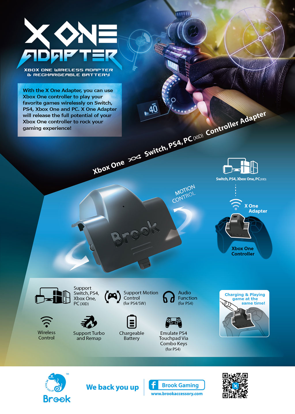 Brook X One/PS4/Switch/PC Adapter and Rechargeable Battery - Focus ...