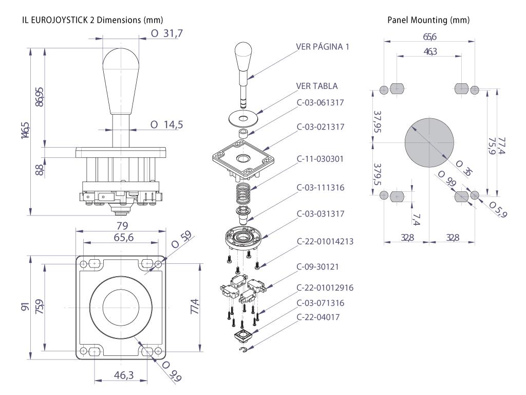Eurostick Joystick dimensional specifications