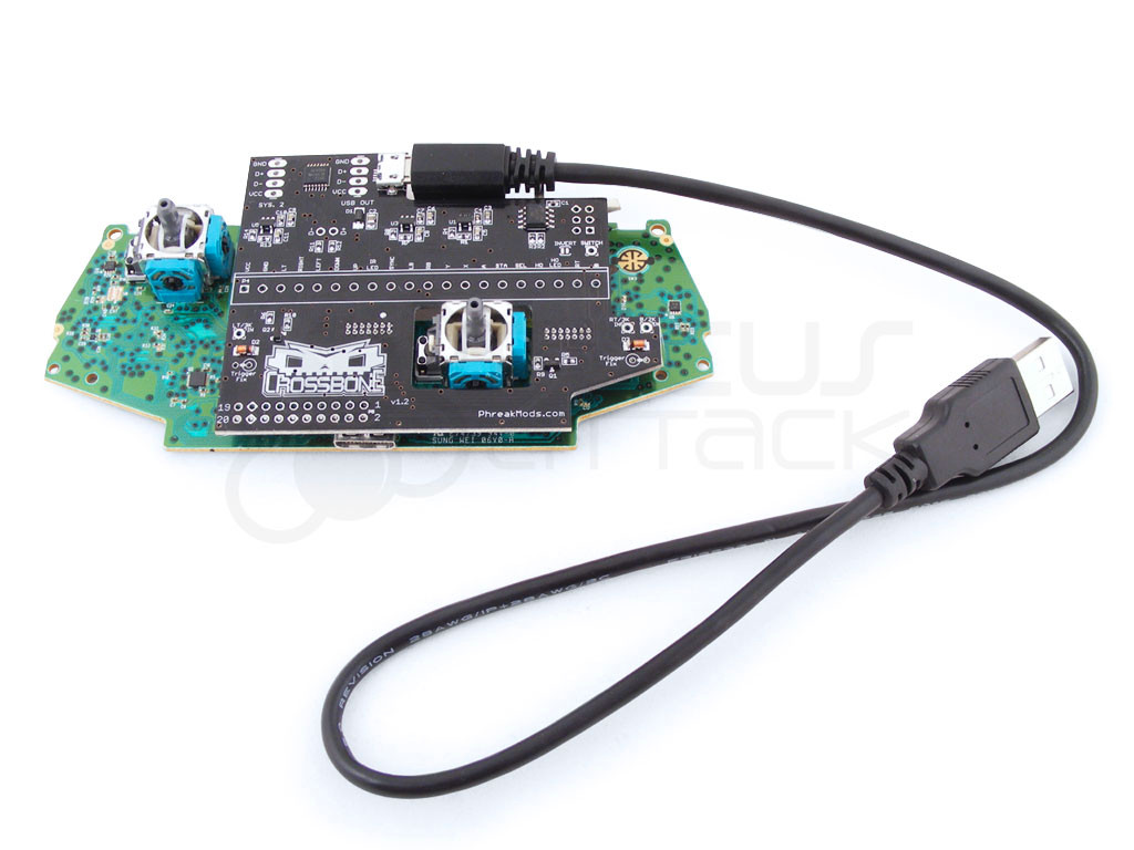 Cable attaches to Crossbone Xbox One Adapter PCB (Xbox One Bare Gamepad and Crossbone PCB not included)