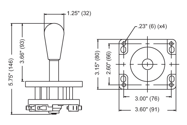 Joystick lever specifications and measurements