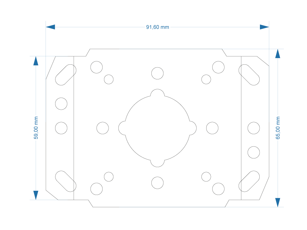 Width and depth specs for Japan S Converter Plate