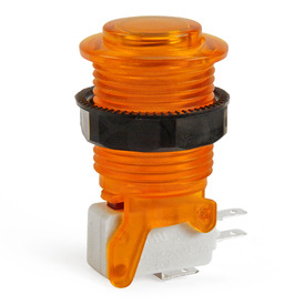 IL PSL-CV Convex Translucent Short Stem Pushbutton - Amber/Orange