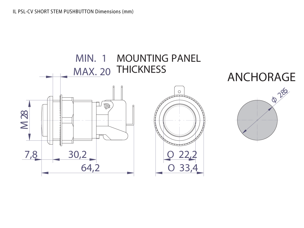 Pushbutton specifications and measurements