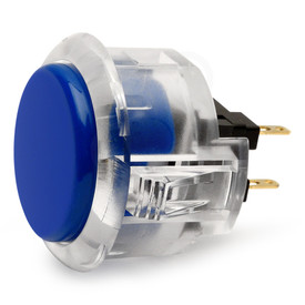 Sanwa OBSC 30mm Pushbutton Clear Rim/Solid Plunger Royal Blue