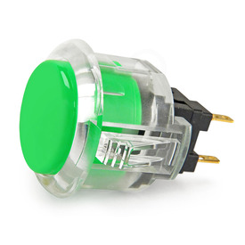 Sanwa OBSC 24mm Pushbutton Clear Rim/Solid Plunger - Green