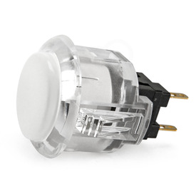 Sanwa OBSC 24mm Pushbutton Clear Rim/Solid Plunger - White