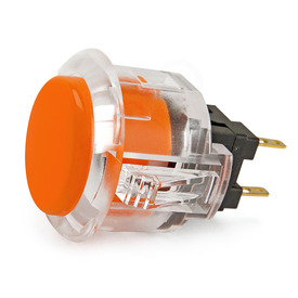 Sanwa OBSC 24mm Pushbutton Clear Rim/Solid Plunger - Orange