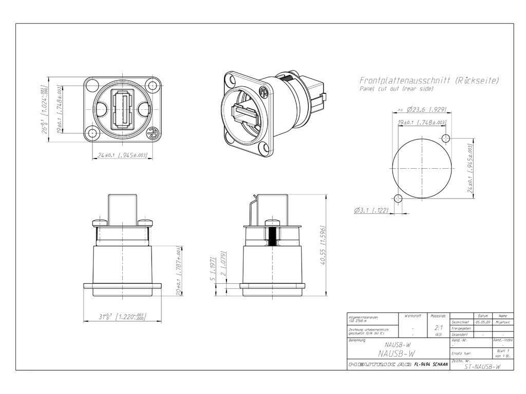 neutrik nausb w a b usb feed through silver Mini USB Pinout Diagram image 1 neutrik nausb w a b usb feed through schematic drawing