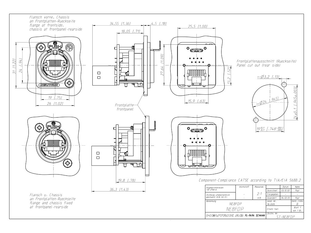 Neutrik NE8FDP RJ45 Feed-Through Schematic Drawing