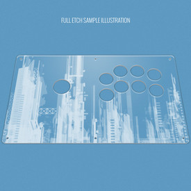 "Custom Etch Plexi Cover for AllFightSticks 14"" Sega 2P Korean Lever Panel"