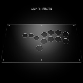 "Blank Plexi Cover for AllFightSticks 14"" Shiokenstar Panel"