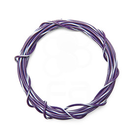 22 AWG Wire By-The-Foot: Purple/White Stripe