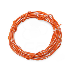 22 AWG Wire By-The-Foot: Orange/White Stripe