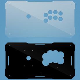 BNB Fightstick Gen 1 Clear/Black Gloss Plexi Replacement Panel - All 24mm Button
