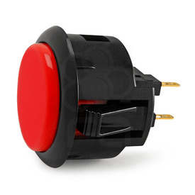 Black Rim Sanwa OBSF 30mm Pushbutton Dark Red / Black