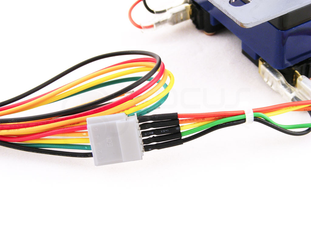 """.187"""" to 5-pin conversion harness connects to Sanwa JLF-H joystick harness. (Note that some commercially made joysticks may have slightly different signal/color assignments.)"""