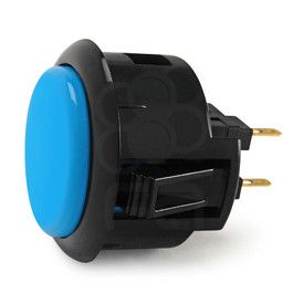 Black Rim Sanwa OBSF 30mm Pushbutton Light Blue / Black