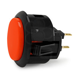 Black Rim Sanwa OBSF 30mm Pushbutton Vermillion / Black