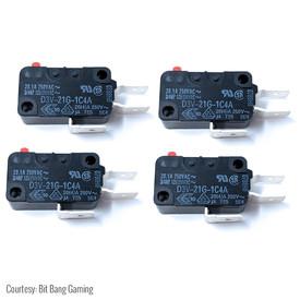 """Omron D3V-21G-1C4A .250"""" 125gf Microswitch for Shuriken JLF PCB (4-Pak)"""