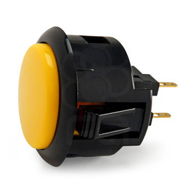 Black Rim Sanwa OBSF 30mm Pushbutton Yellow / Black