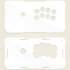 BNB Fightstick Gen 2 White Gloss Plexi Replacement Panel - Noir 8 Layout
