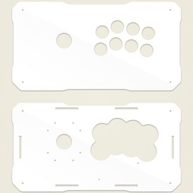 BNB Fightstick Gen 2 White Gloss Plexi Replacement Panel - Korean Noir 8 Layout