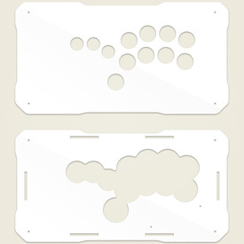 BNB Fightstick Gen 2 White Gloss Plexi Replacement Panel - Shiokenstar Layout