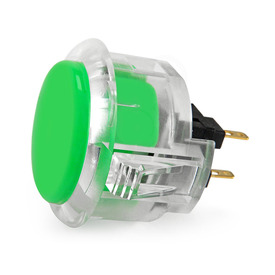 Sanwa OBSC 30mm Pushbutton Clear Rim/Solid Plunger Green