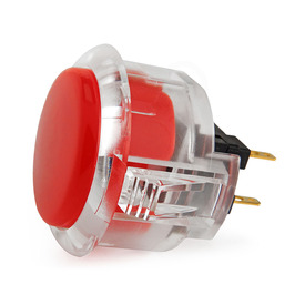 Sanwa OBSC 30mm Pushbutton Clear Rim/Solid Plunger Dark Red