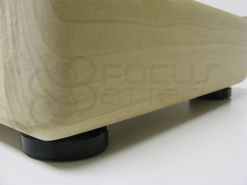 Black Aluminum 40mm joystick case feet installed on a Foe Hammer DIY Arcade unpainted joystick case