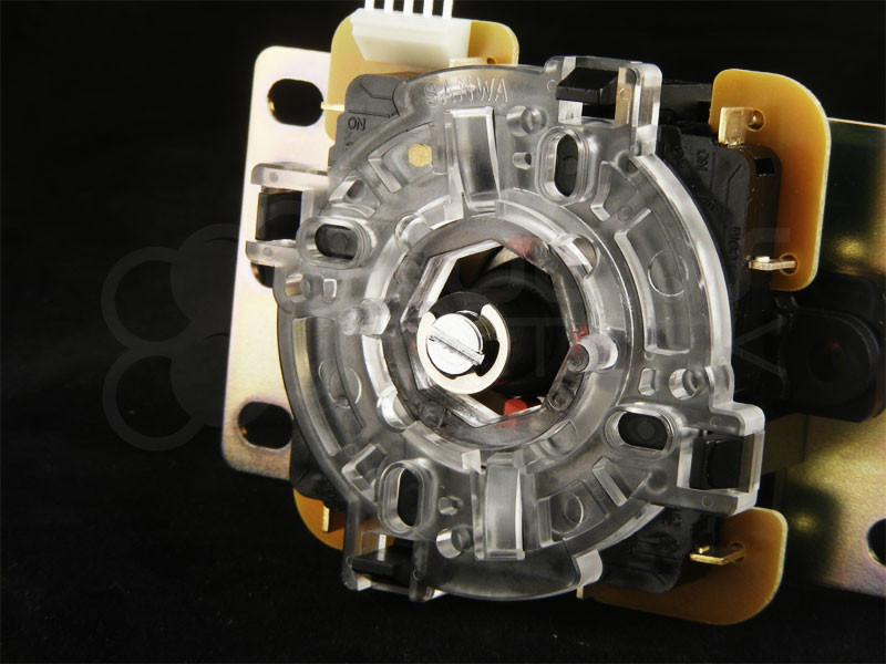GT-Y Octagonal Restrictor Plate Insert when installed in a Sanwa JLF joystick and default GT-8F restrictor plate.