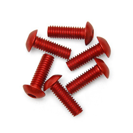 M4x12mm TE Plexiglass Screws (Set of 6) - Anodized Red