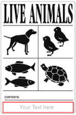 Customizable BLACK IATA Live Animal Species Labels