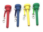 Colorful flexible funnels for dispensing water to travel pets kennel without the need to open the door.