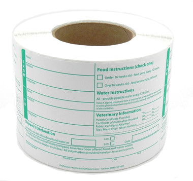 Roll Pet Shipper's Declaration Animal Information Forms