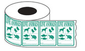 Roll of 500 GREEN IATA Animal Species shipping Labels