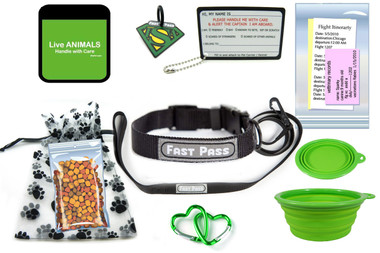 In Cabin Pet travel Kit with Collar Leash-Green