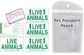 Live Animal Labels with Pet Passport Pouch