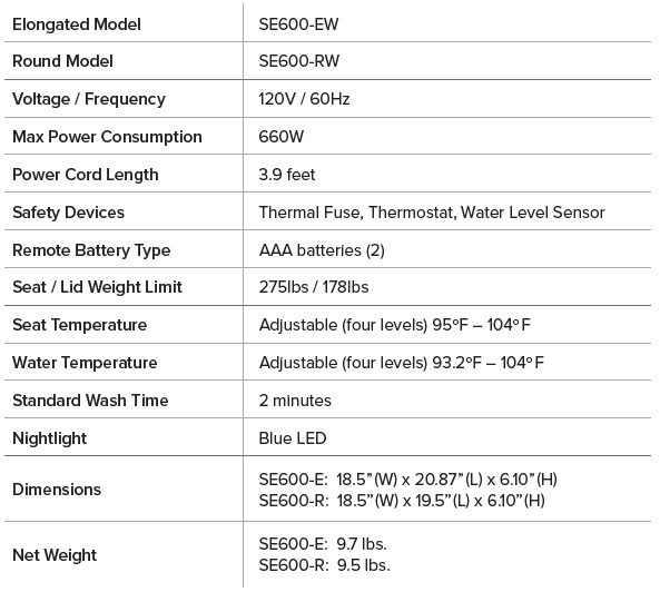 Brondell SE600 Product Specifications