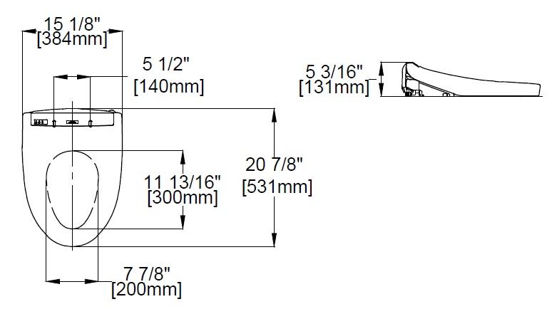 TOTO K300 Washlet Dimensions
