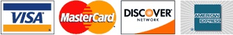 We accept MasterCard, American Express, Discover and Visa